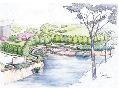 滨河绿地手绘图